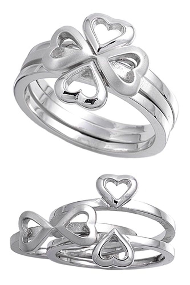 Sterling Silver Woman's Infinity Heart Clover Unique Ring Band 14mm Sizes 4-12 #TheVaultSilverJewelry #Ring-$28.89