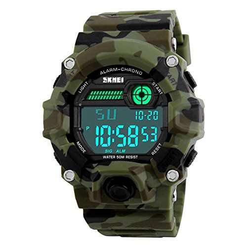 SALE PRICE - $12.99 - Men's Digital Sports LED Waterproof Electronic Casual Military Wrist Camouflage Strap Boys Watch With Silicone Band Luminous Army Watches