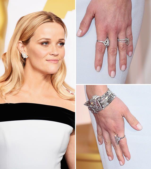 Las joyas más espectaculares de los Oscar 2015.Reese Witherspoon usó aretes, pulsera y anillos de diamantes de Tiffany & Co.