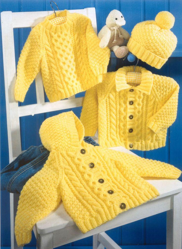 Brei Baby kind trui Hooded jas en hoed door GrannyPatternStore