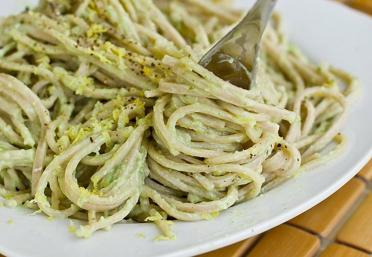 For a high-protein pasta, try this creamy avocado pasta recipe from Oh She Glows bumps the dish up to almost 14 grams. It's the perfect way for vegans — or anyone laying off dairy — to enjoy a comforting bowl of pasta.  Source: Oh She Glows