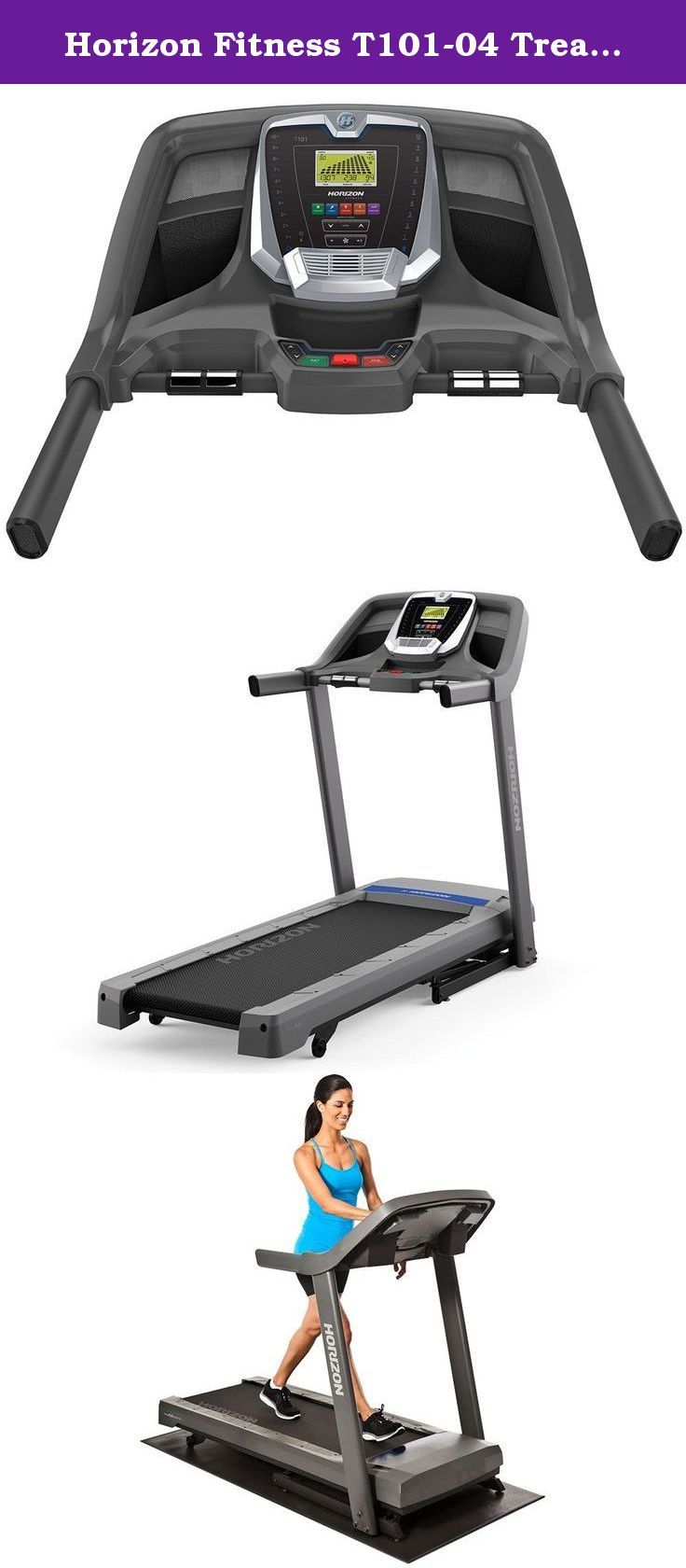 "Horizon Fitness T101-04 Treadmill. Rated by the Treadmill Doctor as one of the ""Best Buys"" in its category, the new T101 treadmill includes a powerful, quiet motor and stable, comfortable platform. This is combined with a comprehensive console and Sonic Surround speakers with MP3 input so you play music through the console speakers. A strong frame that doesn't shake when you run will give you the confidence you need under your feet to stick with your program. Horizon Fitness treadmills…"