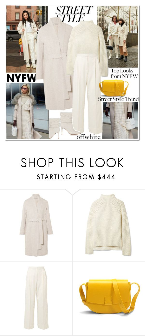 """""""Win It! NYFW: Street Style Offwhite"""" by ellie366 ❤ liked on Polyvore featuring Vince, Theory, The Row, Nico Giani, contestentry, Whiteboots, whitecoat, nyfwstreetstyle and beltedcoats"""