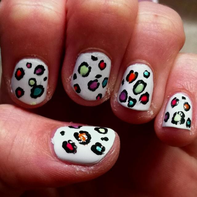 neon cheetah nail design fingernail polisheye shadows