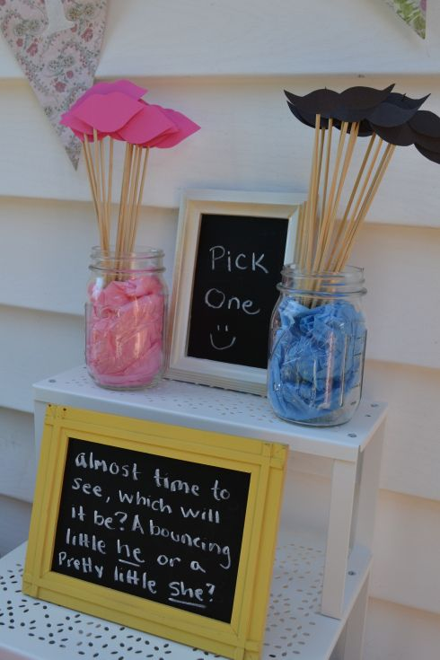 Cute wording for gender reveal. Moustaches and lips would be cute on straws