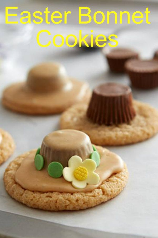Dress up your cookies for Easter with this Easter Bonnet Cookies recipe.  Peanut butter cookies with with an adorable top.