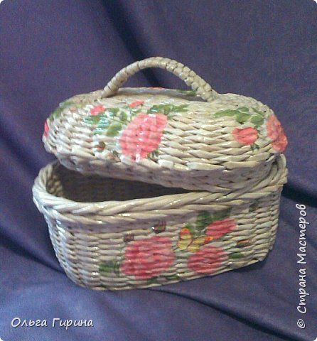 Поделка изделие Плетение и у меня теперь есть хлебница Трубочки бумажные фото 7