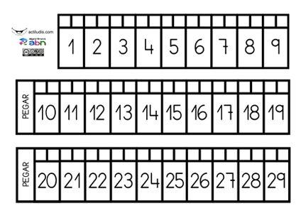 """He añadido la """"recta numérica con los números en horizontal"""". Recta numérica para construir y trabajar la numeración hasta el 100. Para ello cada alumno/a tendrá la suya. Imprime las fichas, y que los niños/as las recorten, peguen y enrollen en un cartón de los que sirve de armazón al …"""