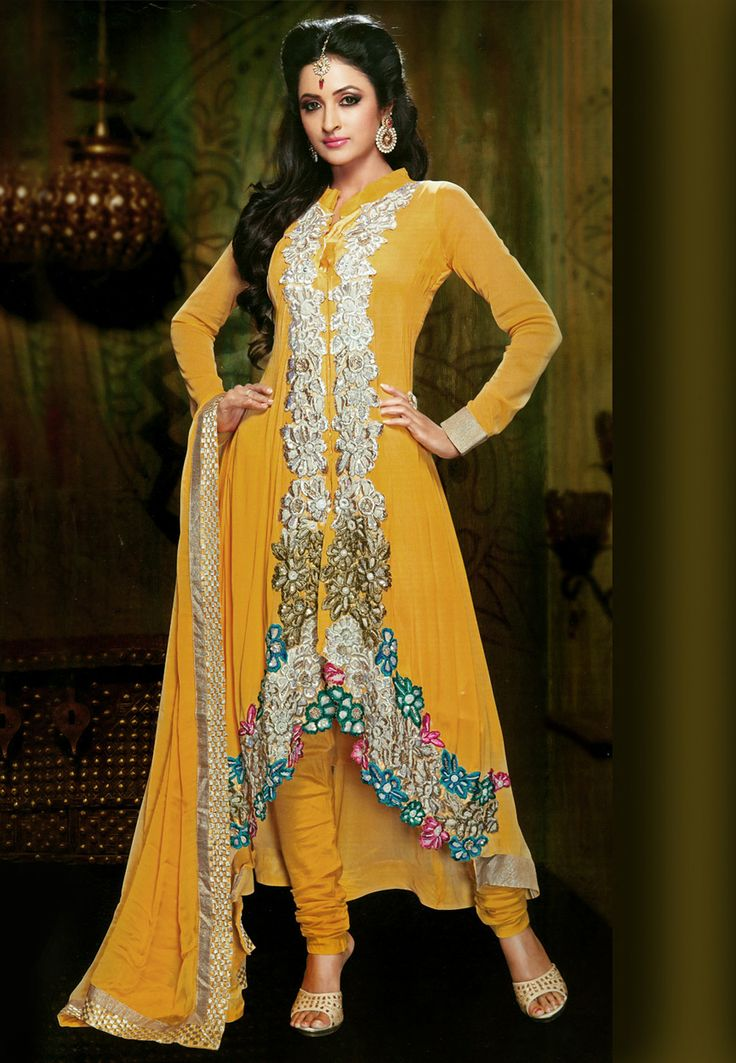 #Yellow Faux Georgette #Churidar Kameez Online Shopping: KAF65