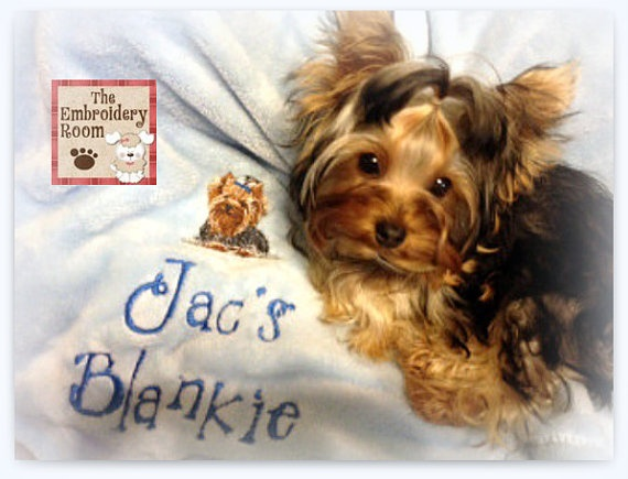 Yorkshire terrier dog blanketembroidered by