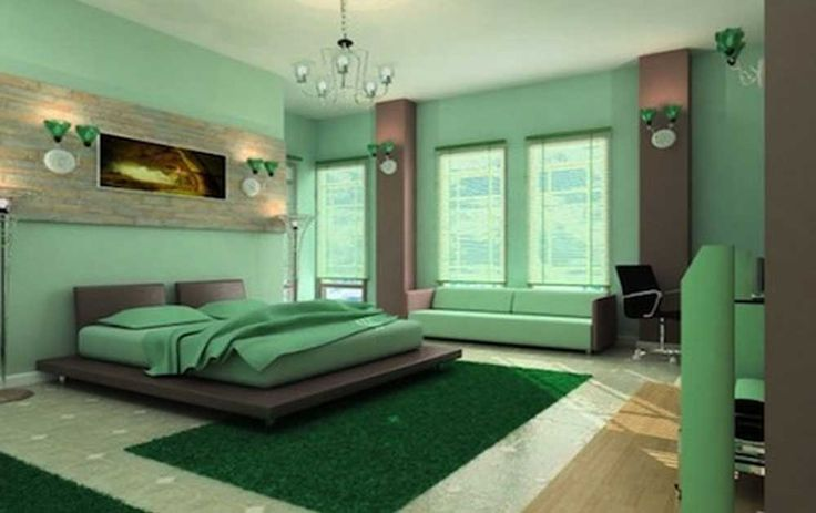 Interior Design Ideas for Bedroom with green bedding set placed on the green rug combined with green sofa in the green wall room contemporary master bedroom designs