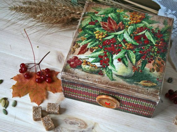 Tea storage box Tea bags holder Wooden tea box Food от DecoDvorik