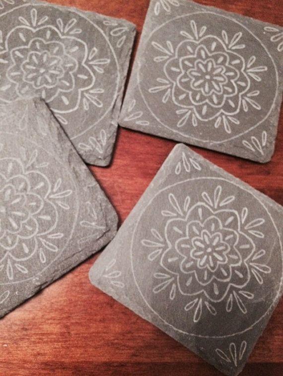 Slate coasters set of four mandala design hand by RockeryCottage