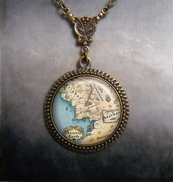 Middle Earth necklace, Middle Earth map jewelry, LOTR jewelry, Lord of the Rings Hobbit jewelry via Etsy: