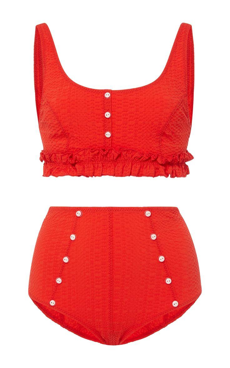 Colby Ruffle High Waist Bikini Set by LISA MARIE FERNANDEZ Now Available on Moda Operandi