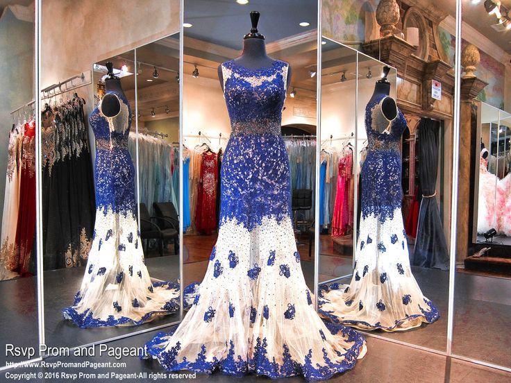 They won't be able to stop looking at you in this amazing royal blue formfitting dress! Its bodice is covered with royal crystal stones and features a sheer skirt with lace detail, and it's at Rsvp Prom and Pageant, your source for the HOTTEST Prom and Pageant Dresses!