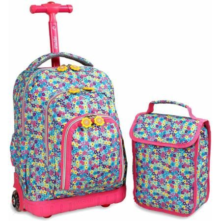 J World Lollipop Rolling and Lunch Bag - in floret or ylw dots on bright pink. $44.99