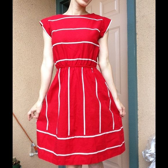 Vintage Red Stripe Nautical Mini Dress Excellent condition. Metal zipper. There are no stains or holes. This comes from a smoke free home.  It has loops for about but no belt included. There is no brand. Vintage Dresses Mini