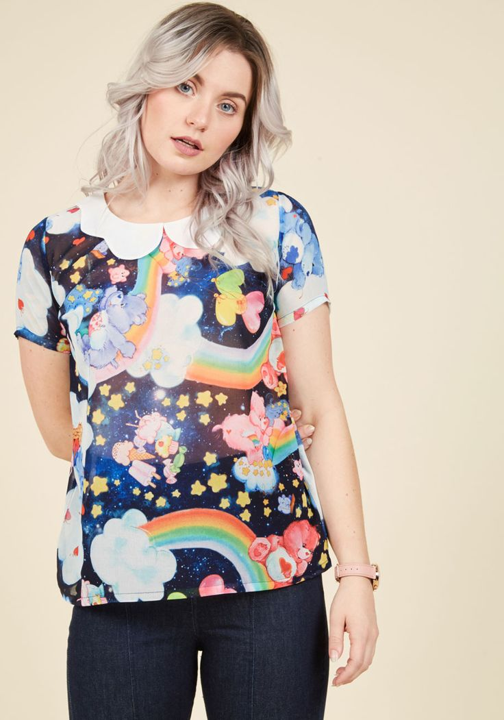 Just Compassion Through Top - Multi, Black, Other Print, Peter Pan Collar, Casual, Fairytale, Short Sleeves, Fall, Exceptional, Collared, Blue, Under 100 Gifts, Unique Gifts, Mid-length