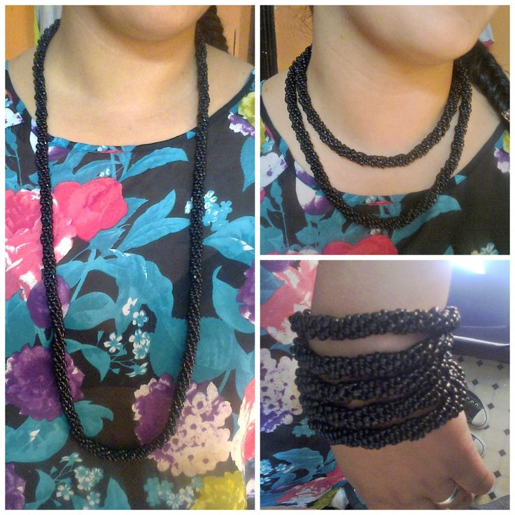 collar espiral largo negro