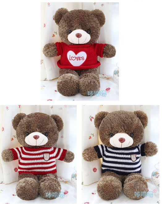 24 Inches Hot Brown Stuffed Plush Lovely Wearing Sweater Teddy Bear Soft Toy #Handmade