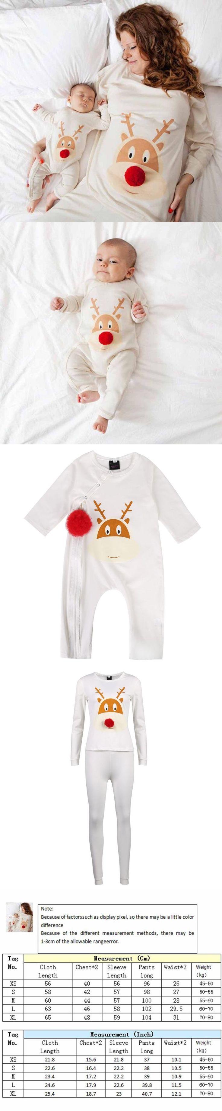 Christmas Winter Deer Printing Family Matching Christmas Pajamas Set Outfit Mom T-shirt Pants Sleepwear And Baby Kids Romper