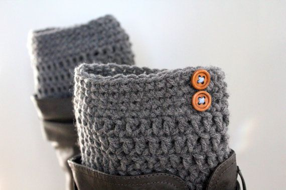 Grey Boot Cuffs,Grey Boot Toppers,Gray Legwarmers,Boot liners,Wood Button Boot Cuffs,Grey boot socks,Grey boot liners,grey rainboot liners on Etsy, $18.00