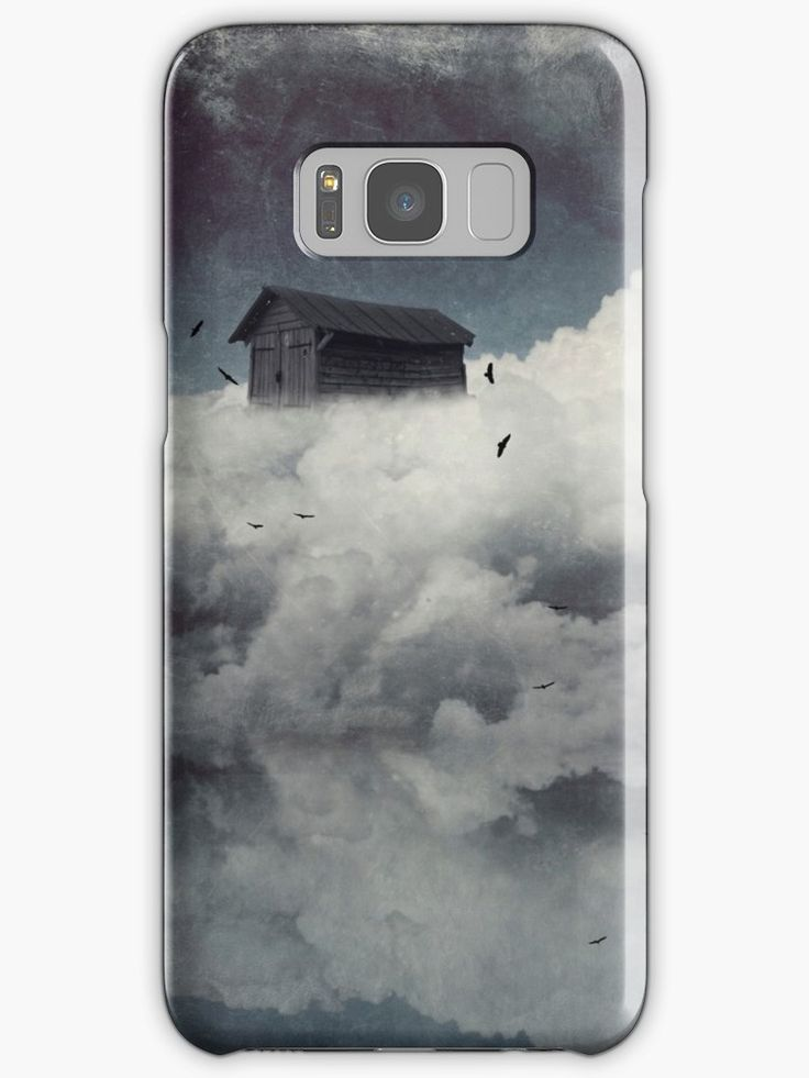 Surreal cloudscape with birds and a wooden shack – manipulated photograph • Also buy this artwork on phone cases, apparel, stickers, and more.