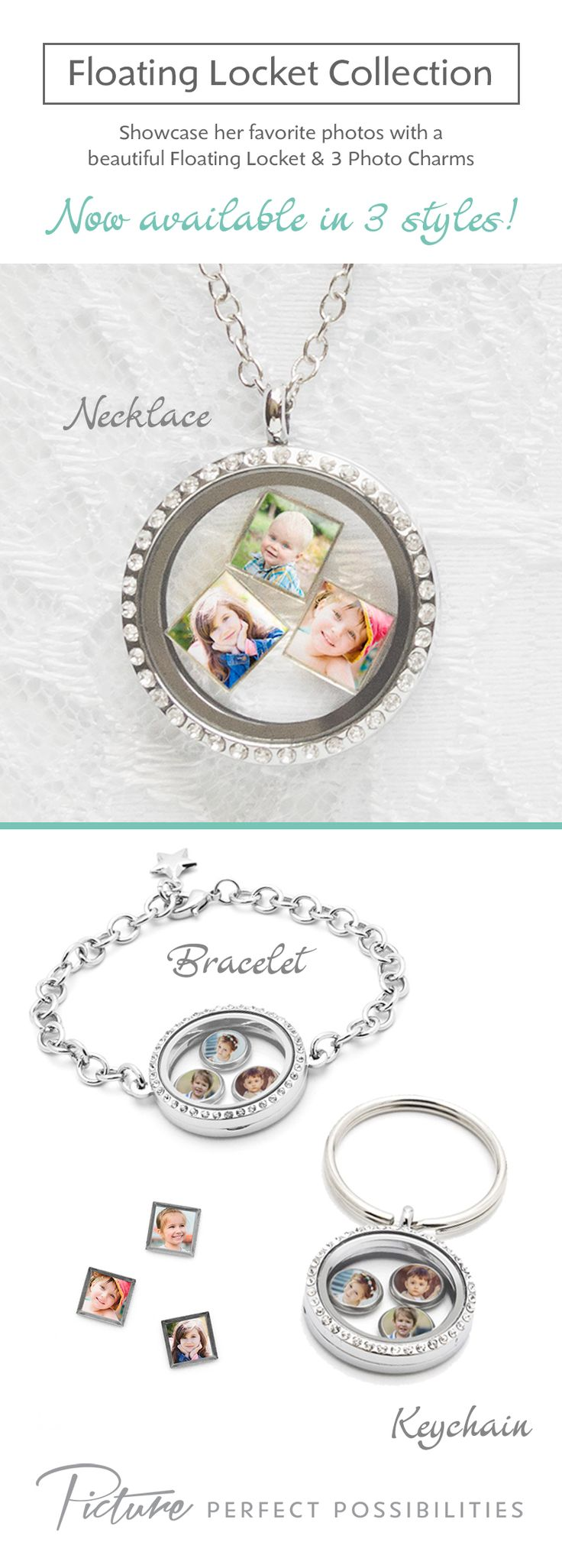 A Floating Locket is the perfect gift for her. Get mom, grandma, wife (or any lady in your life) a personalized gift - she won't be expecting such a cute gift!