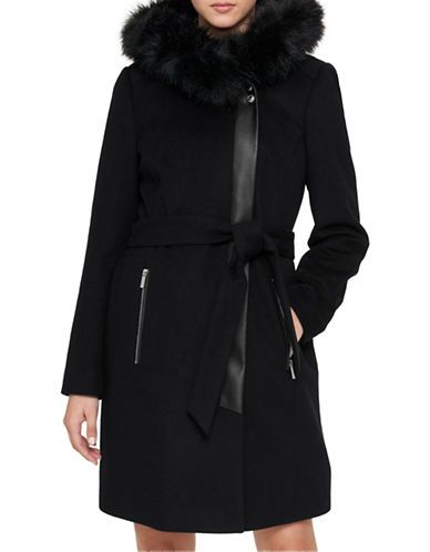 KARL LAGERFELD PARIS Luxe Faux Fur Trimmed Belted Coat