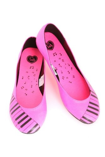 Amazon.com: T.U.K. Neon Pink Piano Flats: Shoes