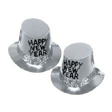 Platinum Rush New Year Top Hat - 10 These gold hats have a prismatic band and Happy New Year design. They are a great party accessory to see in the new year
