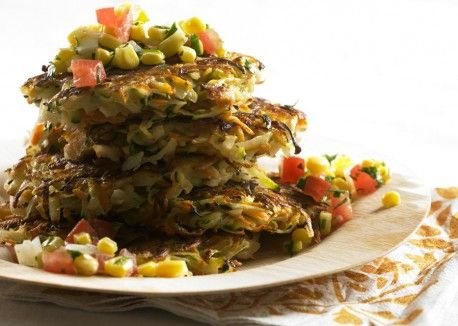 Vegetable Rosti with Tomato-Corn Relish from Vegetarian TimesRelish Recipe, Vegetarian Time, Eggs Vegetables, Summer Recipe, Food, Tomatoes Corn Relish, Vegetables Rosti, Veggies Patti, Tomatocorn Relish
