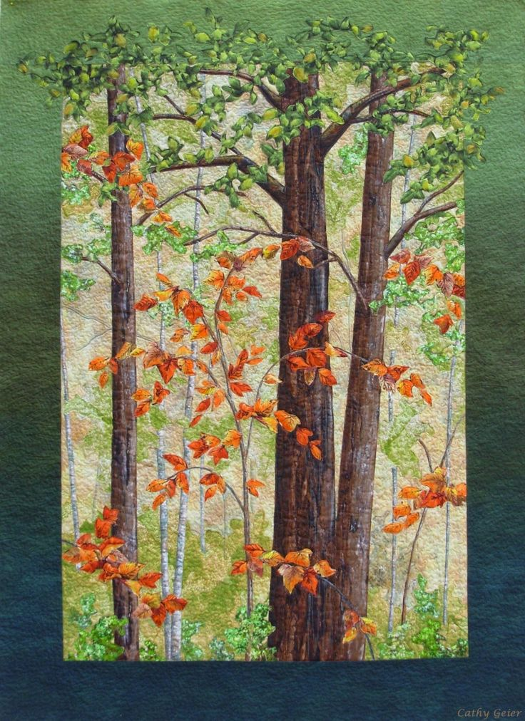 A Touch of Fall by Cathy Geier. Landscape quilt - raw edge applique.