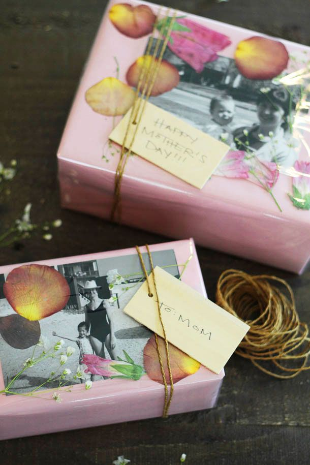 DIY :: Pressed Flower Gift Wrap- One can do this for about anything. I like it. :)