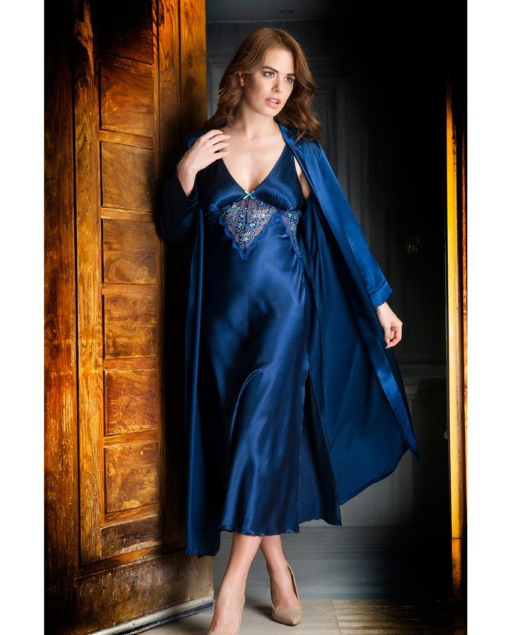 1f4894d18e2 Navy blue satin and lace with just a wisp of lace gives this nightdress and  gown