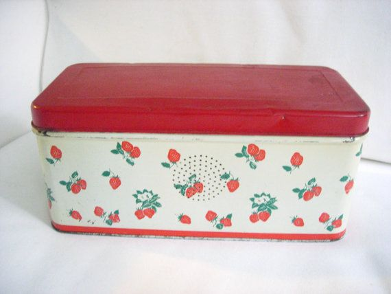 strawberry vintage bread box
