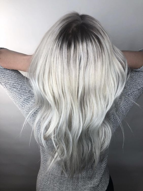 21 Icy Blonde Hair with Dark Roots Colour Ideas | Icy ...