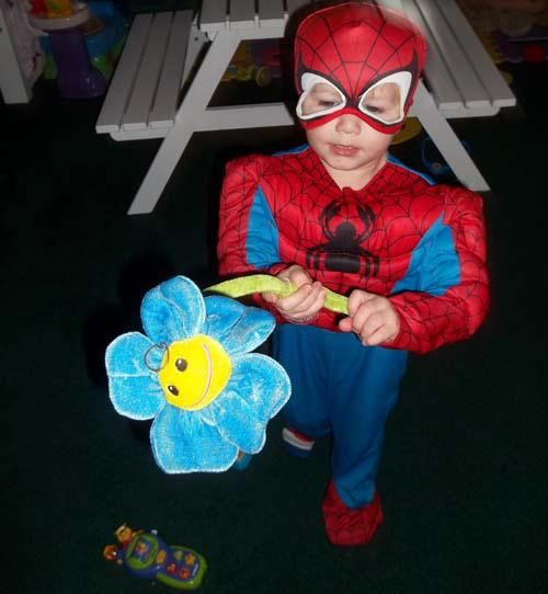Wow - who knew Spidey was such a charmer? Thank you to Teh Doll, for sending this picture of her son in our Spider-Man costume!