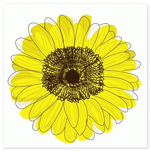 Pour obtenir un effet similaire à cette illustration, peignez des formes grossières de fleurs d'une couleur unie (dans ce cas-ci, en jaune). Lorsque c'est sec, il ne vous reste plus qu'à surlignez les détails de votre illustration à la pointe fine de couleur noir. Souvenez-vous, l'asymétrie entre votre couleur et les traits noirs peut être très intéressante, comme le démontre les pointes des pétales de cette fleur!