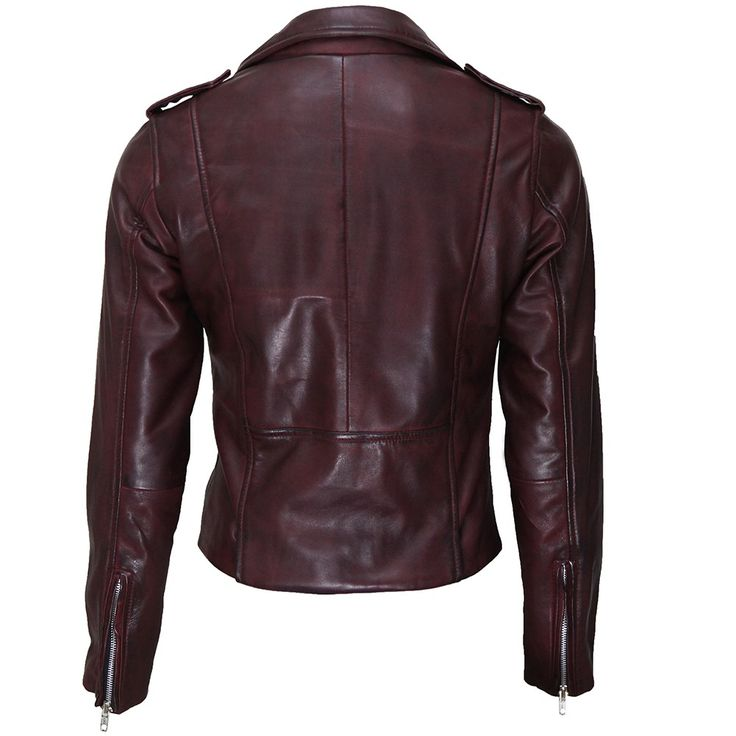 Womens Oxblood Red Moto Leather Biker Jacket - WB2 | by VIPARO