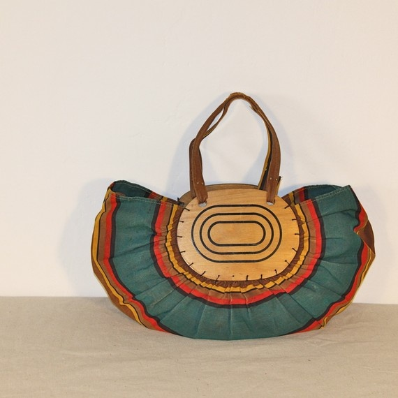 African Stripe and Wood Vintage Boat Bag by salvagelife on Etsy, $98.00