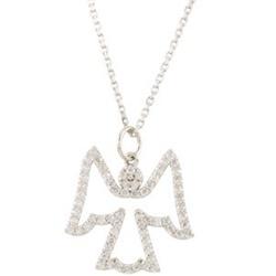 1/3CT Diamond Angel Pendant 14K White Gold - $239