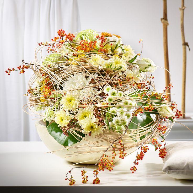Hier hat sich der Floral-Designer in der Formgebung durch die alte Handwerkskunst des Hutmachers inspiriren lassen. Der effektvolle Eyecatcher wirkt zudem mit sehr natürlichen Ausstrahlung. Ein ausgefallenes, edles Blütenbouquet in harmonischem Farbenspiel und herrlichen Chrysanthemen-Blüten für ein winterliches Interieur.
