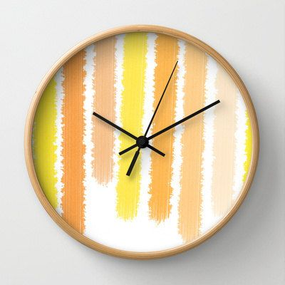 Orange Clock  Wall Clock  Stripes Orange and by ShelleysCrochetOle