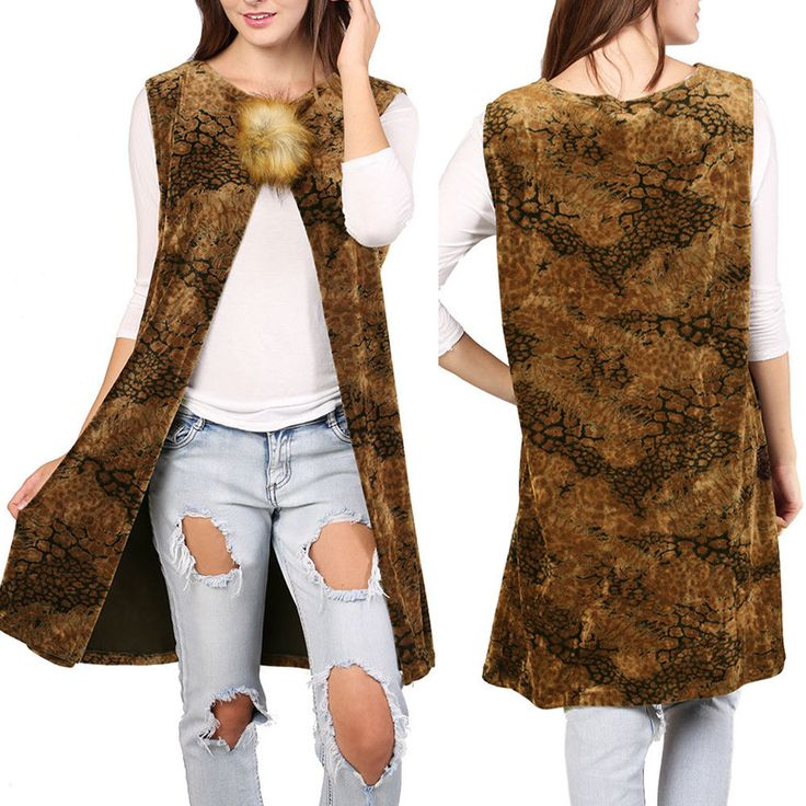 Women Faux Fur Pom Pom Animal Cheetah Print Long Vest Kimono Cover Up Cardigan