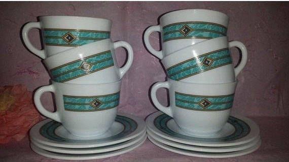 Vintage Aztec Cups and Saucers,6 Pc Service,Harmonia Cristiva,Milk Glass Tea Cups,Green Marbled Tea Set,Tribal Tea Set,Southwestern, Teal