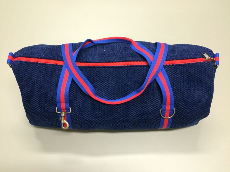 mod.12 - electric blue bag - royal blue/red stripes