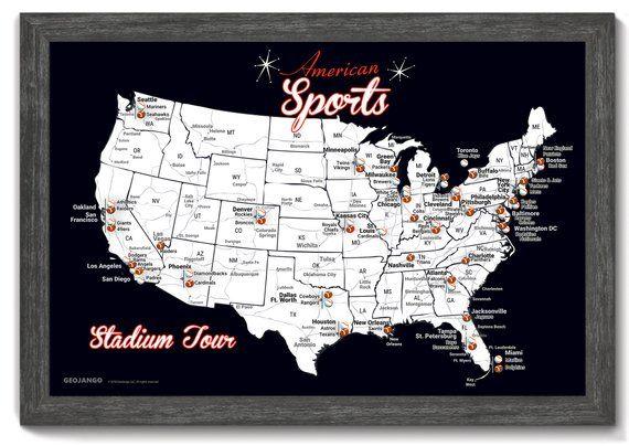 Football And Baseball Stadium Map Baseball Park Pin Map Football Stadium Map Sports Push Pin Map Baseball Stadium Map Football Stadiums Nfl Stadiums