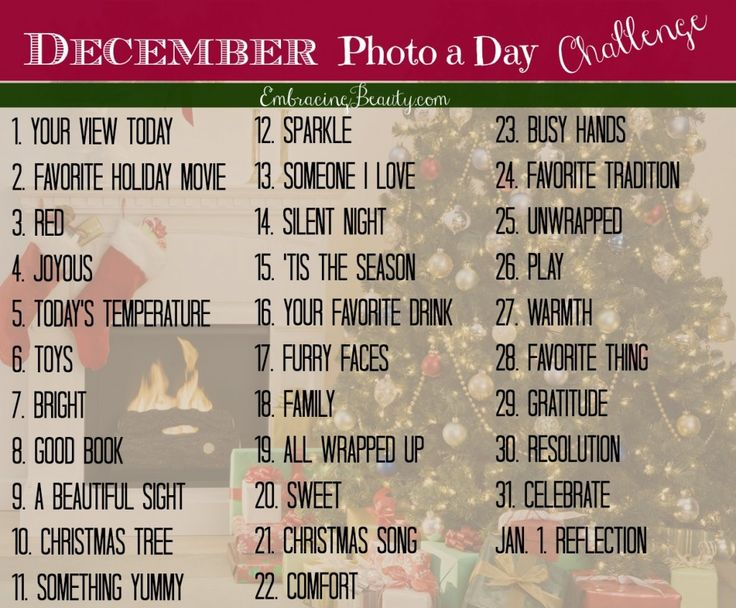 Follow and/or participate in the December Photo a Day Challenge by using hashtag #EmbracingBeauty and enjoy the everyday moments in your life!